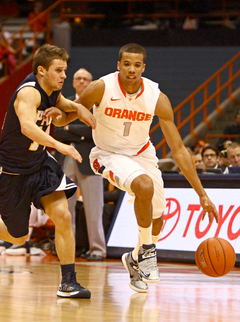 Michael Carter-WIlliams dribbles the ball up court against pressure Thursday night in Syracuse's exhibition game against Pace.