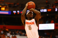C.J. Fair lines up a shot attempt in the Orange's first exhibition game this season.