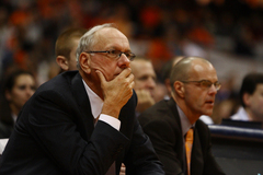 Coach Jim Boeheim looks on during Thursday night's game. SU defeated Pace 99-63 in the first exhibition game of the season.