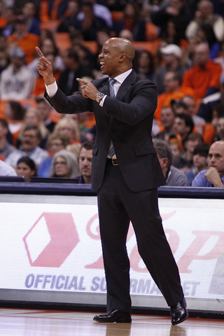 Eastern Michigan head coach and former Syracuse assistant coach Rob Murphy calls out instructions to his team.