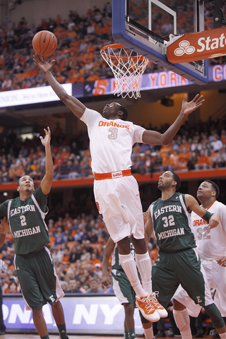 Jerami Grant reaches back to try and grab a rebound against Eastern Michigan on Monday.