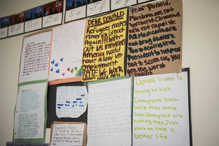 A wall inside one of the RISE classrooms is decorated with letters to President Donald Trump from children in the after-school program.