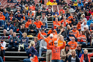 Syracuse fans fair outweighed Colgate fans, as Hamilton, New York, is only about 40 miles from SU.